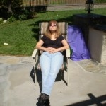 The author relaxing in the warm California sunshine